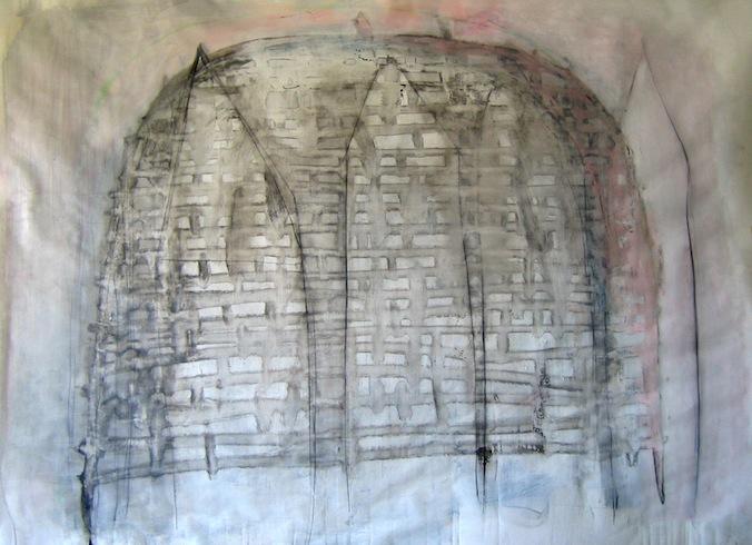 Carcasse 3, 2010, technique mixte sur papier (collé sur toile), 152 x 203cm