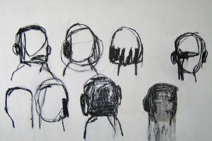 Famille, 2009, technique mixte sur toile, 92 x 152 cm