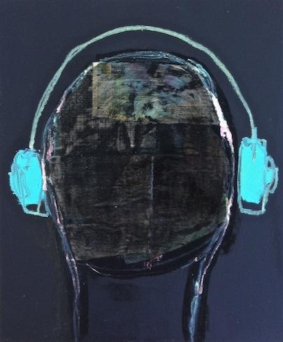 Headphones 2, 2012, technique mixte sur bois, 43 x 35,5 cm (vendu-sold)