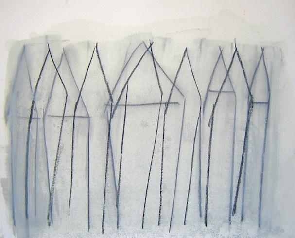 House series (1), 2010, conté et huile sur bois, 35,5 x 43cm (vendu-sold)