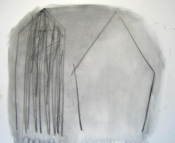 House series (5), 2010, conté et huile sur bois, 35,5 x 43 cm