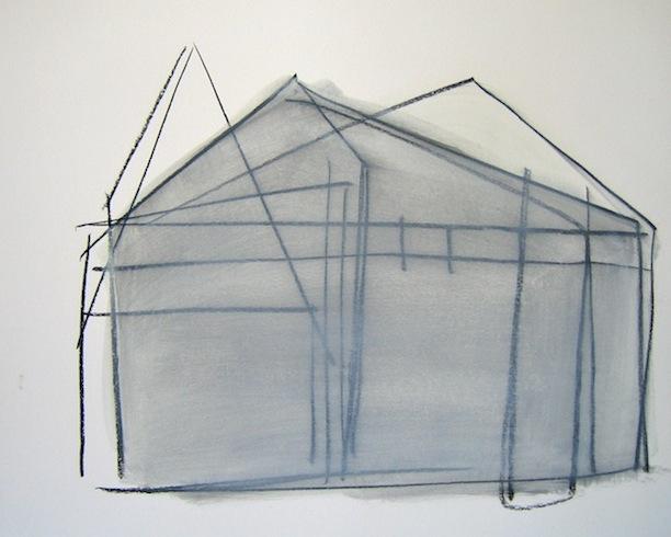 House series (6), conté et huile sur bois, 35,5 x 43cm (vendu-sold)