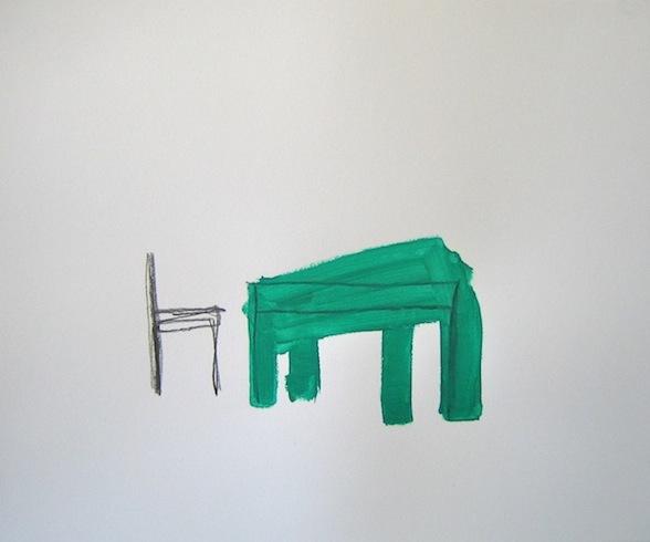 Le souper (2), 2010, graphite et acrylique sur bois, 35,5 x 43cm (vendu-sold)