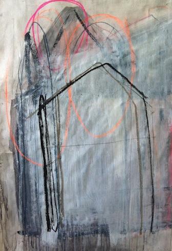 Nowhere (8), 2012, technique mixte sur papier, 91 x 62 cm (vendu-sold)