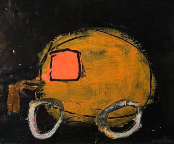 Roulotte 13, 2011, acrylique et crayon à huile sur bois, 21,5 x 24,3 cm