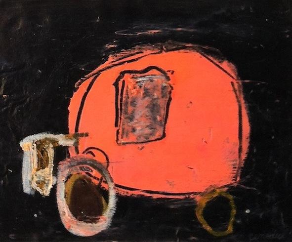 Roulotte 14, 2011, acrylique et huile sur bois, 21,5 x 24,3 cm (vendu-sold)