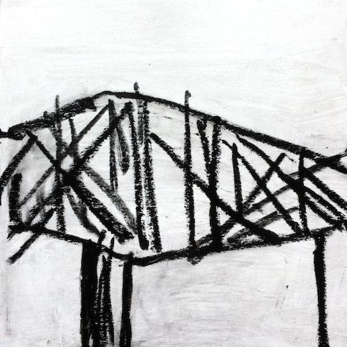 Bridge series (1), 2013, pastel à huile et acryclique sur bois, 40,5 x 40,5 cm