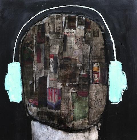 Headphones 2, 2013, technique mixte sur toile, 92 x 92 cm (vendu-sold)