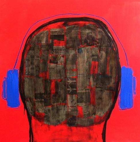 Headphones 5, 2013, technique mixte sur toile, 92 x 92 cm (vendu-sold)