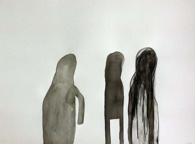 Les marcheurs 7, 2013, acrylique sur papier, 56 x 76 cm