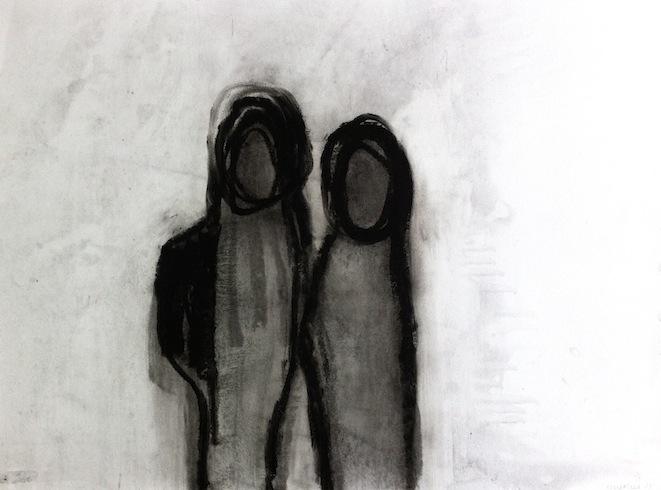 Les marcheurs 8, 2013, huile sur papier, 56 x 76 cm (vendu-sold)