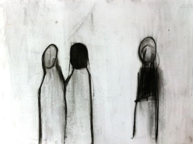 Les marcheurs 9, 2013, huile sur papier, 56 x 76 cm (vendu-sold)