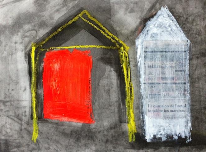 Nowhere 18, 2013, technique mixte sur papier, 56 x 76 cm (vendu-sold)