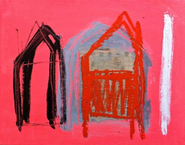 Nowhere 21, 2013, acrylique et crayon à huile sur bois, 35,5 x 43,5 cm (vendu-sold)