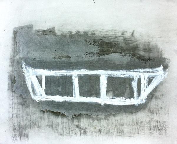 Boat 9, 2014, huile sur papier, 35,5 x 46 cm (vendu-sold)