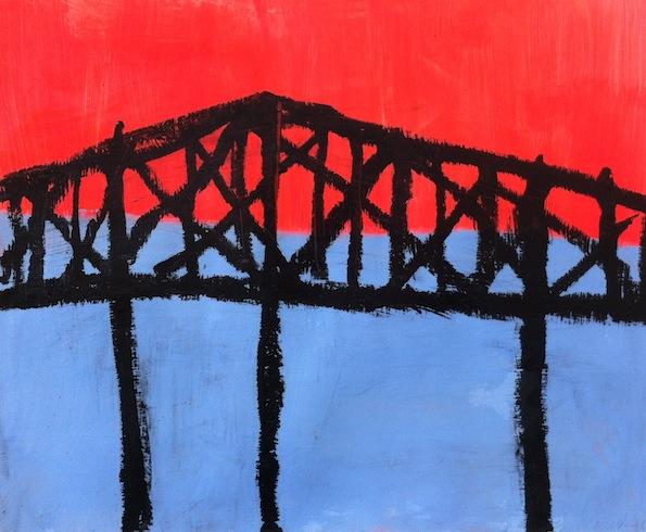 Bridge series (2), 2014, acrylique et pastel à huile sur papier, 35,5 x 46 cm