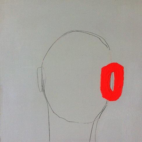 Head painting 24, 2014, crayon hb et acrylique sur bois, 40,5 x 40,5 cm (vendu-sold)