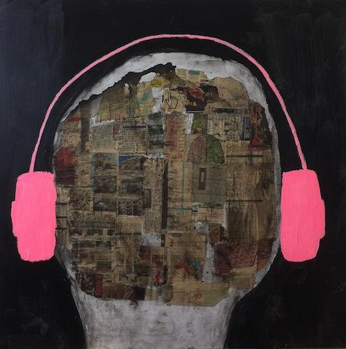 Headphones 11, 2014, technique mixte sur bois, 92 x 92cm
