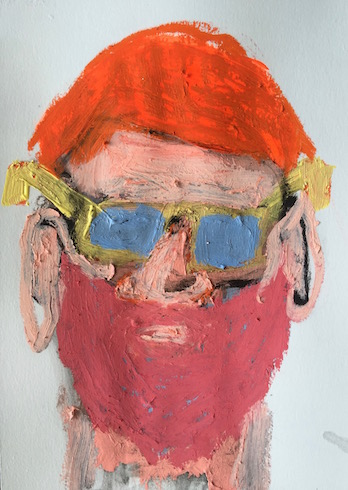 Beard man, 2014, oil stick on paper, 25 x 18 cm