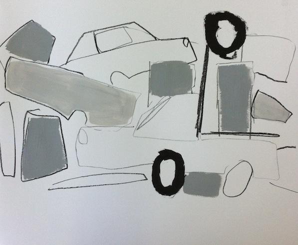 Scrap yard (3), 2014, conté et huile sur papier, 35,5 x 46 cm