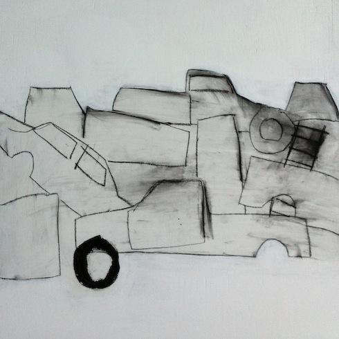 Scrap yard (4), 2014, conté, bâton à l'huile et acrylique sur bois, 40,5 x 40,5 cm