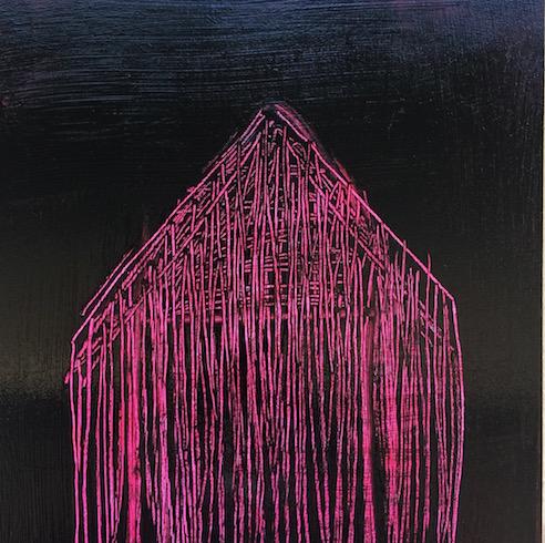 House #1, 2016, acrylique et huile sur bois, 30 x 30 cm (vendu-sold)