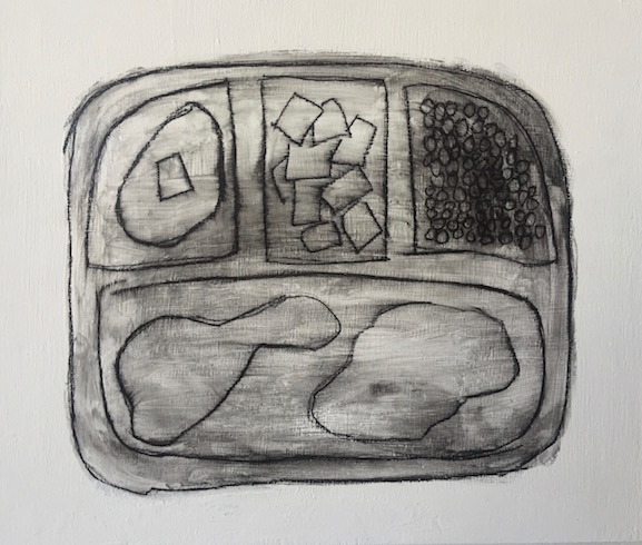 TV dinner, 2016, charcoal et gel medium sur bois, 25 x 30 cm
