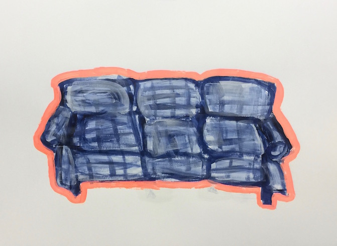 Blue and pink sofa, 2016, acrylique sur papier