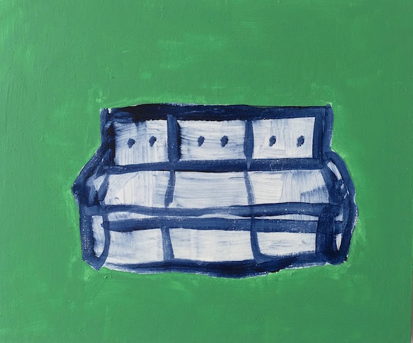 blue sofa in green room, 2016, acrylique sur bois, 25 x 30 cm