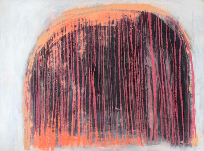 Carcasse #7, 2017, acrylique et bâtons à l'huile sur toile, 92 x 122 cm