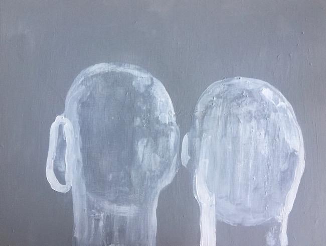 Two heads, 2017, acrylique sur bois, 56 x 76 cm