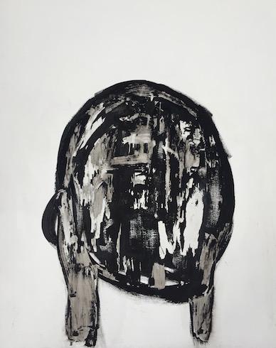 Head painting #33, 2017, acrylique sur bois, 76 x 56 cm