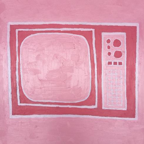 TV, 2017, huile sur bois, 76 x 76 cm