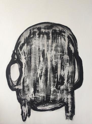 Head painting #36, 2017, acrylique sur bois, 122 x 92 cm
