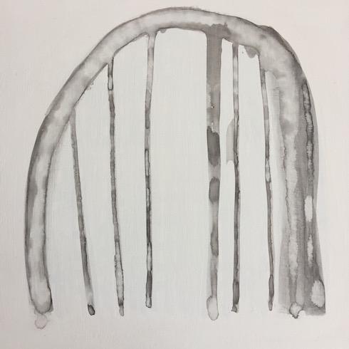 Carcasse #8, 2017, acrylique sur bois, 41 x 41 cm