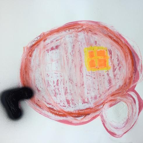 Roulotte #21, 2017, huile et crayon à l'huile sur papier, 45,7 x 61 cm