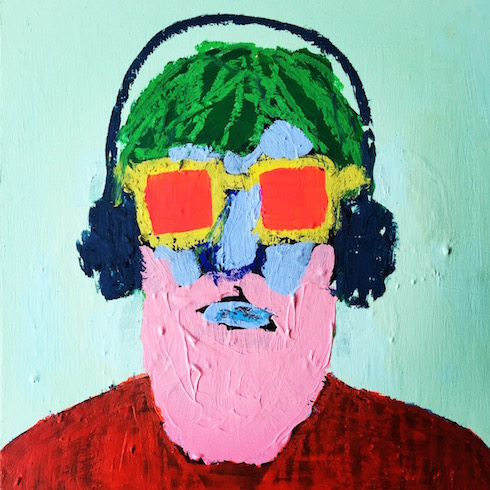 Beard man (2), 2017, acrylique et crayon à l'huile sur bois, 30 x 30 cm
