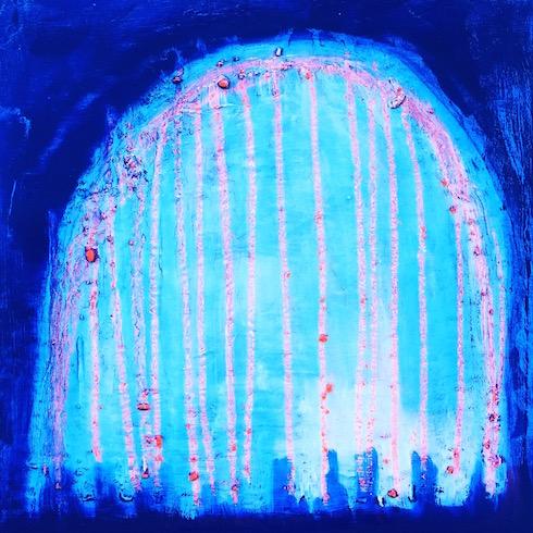 Carcasse #10, 2017, huile et crayon à l'huile sur bois, 41 x 41 cm