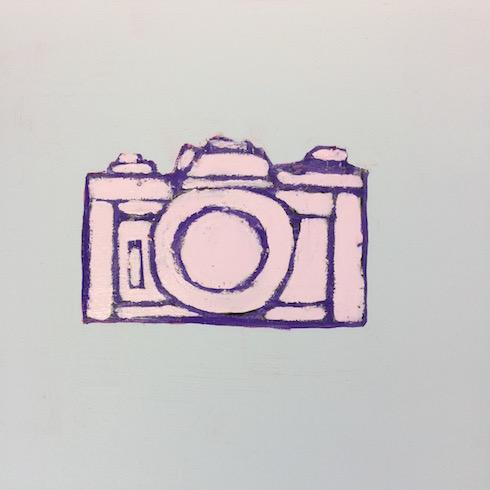 Camera series (3), 2017, acrylique et crayon à l'huile sur bois, 30 x 30 cm