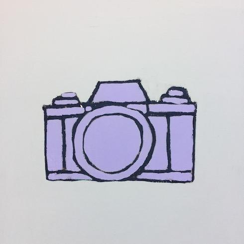 Camera series (2), 2017, acrylique et crayon à l'huile sur bois, 30 x 30 cm