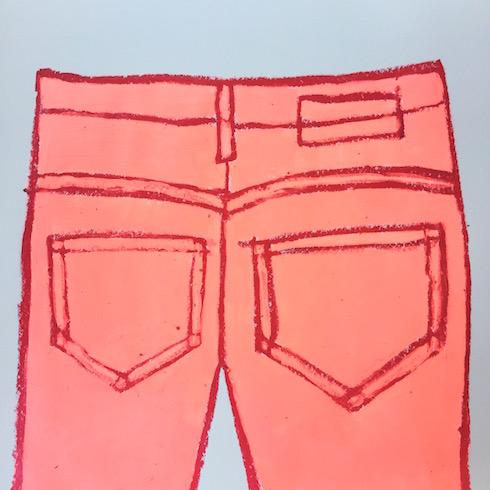 Jean series (2), 2017, acrylique et crayon à l'huile sur papier, 45,7 x 61 cm