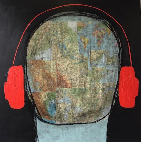Headphones #12, 2017, collage (Atlas 1983), acrylique et crayons à l'huile sur toile, 92 x 92 cm