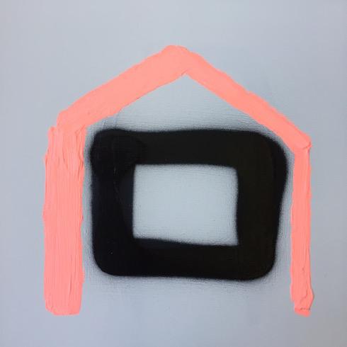 House #6, 2017, acrylique sur toile, 30 x 30 cm (vendu-sold)