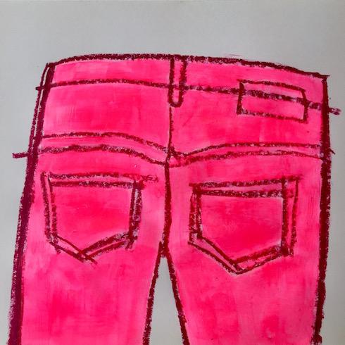 Jean series (1), 2017, acrylique et crayon à l'huile sur papier, 23 x 30 cm