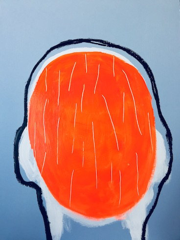 Head painting #39, 2017, acrylique et crayons à l'huile sur bois, 76 x 56 cm