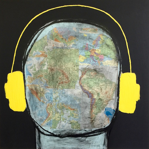 Head phones #13 , 2018, Atlas and acrylic on canvas, 92 x 92 cm