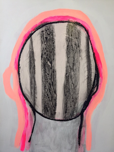 Head painting #41, acrylic and oil stick on wood, 65 x 50 cm