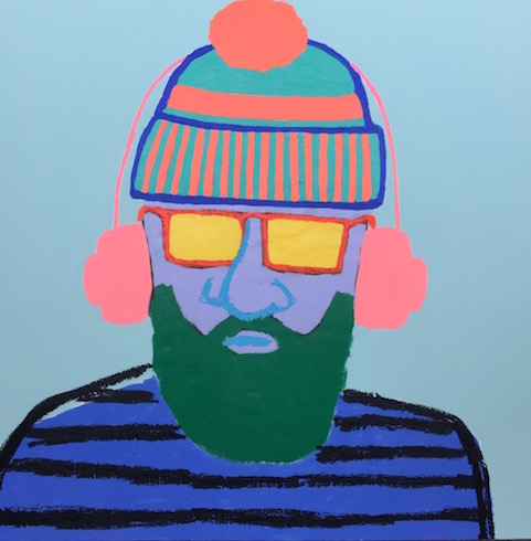 Beard man #4, 2018, acrylic and oil stick on canvas, 92 x 92 cm (vend/sold)