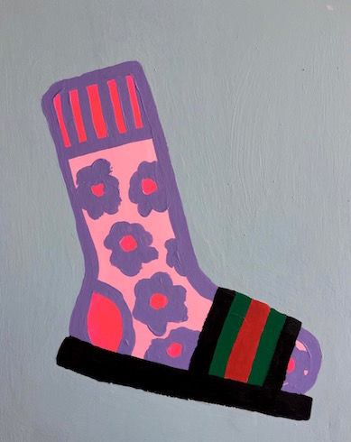 Socks #4, 2018, acrylic on wood, 50,8 x 40,7 cm