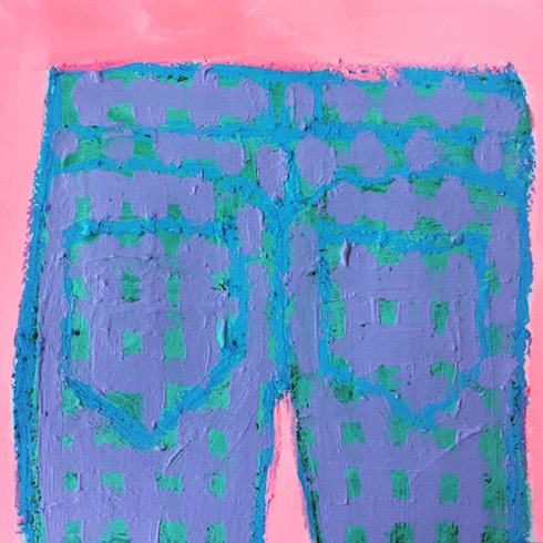 Jeans #3, 2018, oil stick and acrylic on paper (small work)